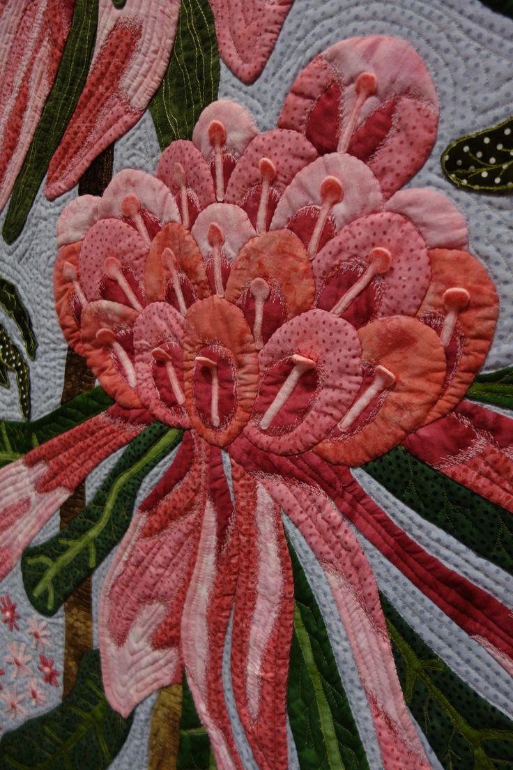 Ena's Pink Waratahs (detail) - Denise Griffiths @ PIQF photo: T.Virshup