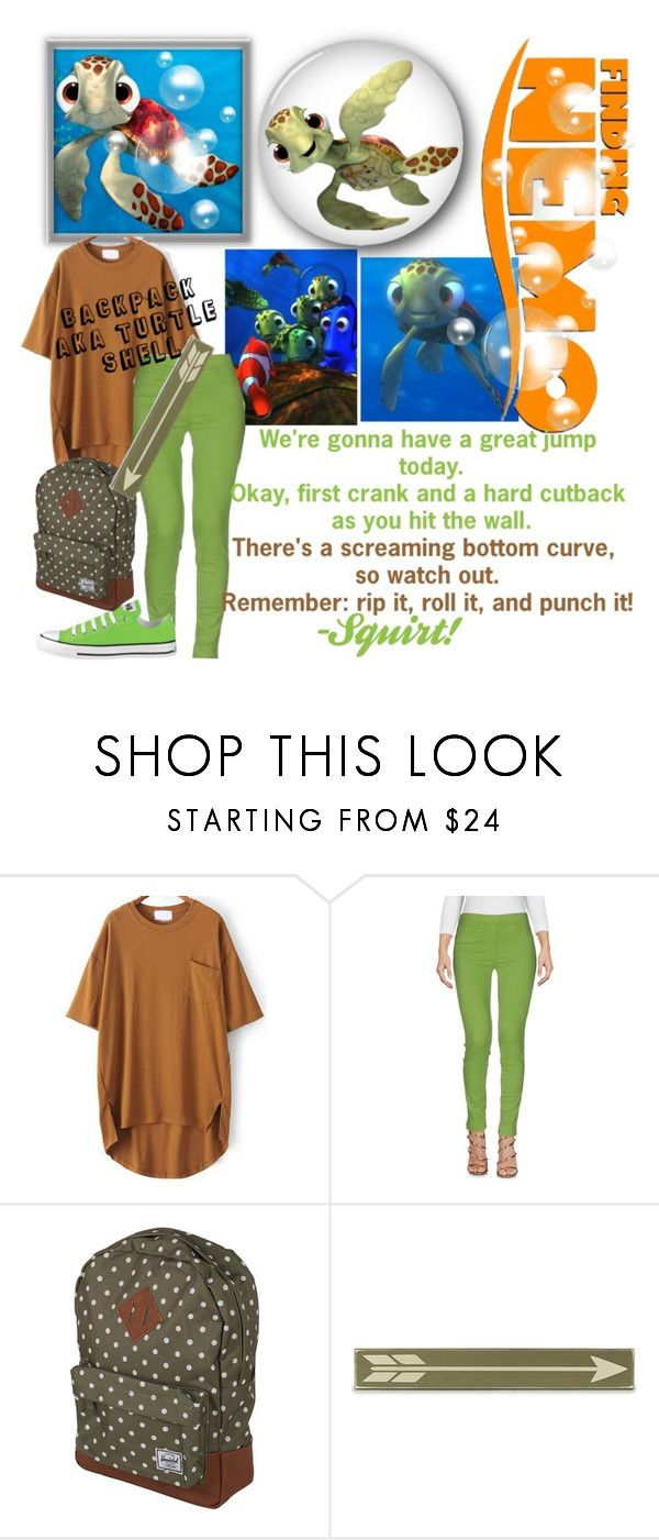 """""""Squirt/Finding Nemo/School"""" by weirdo478542 ❤ liked on Polyvore featuring Blue Les Copains, Converse, Herschel Supply Co. and Home Decorators Collection"""