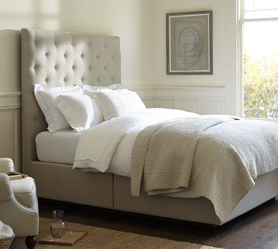lorraine tufted upholstered tall headboard storage platform bed pottery barn square. Black Bedroom Furniture Sets. Home Design Ideas
