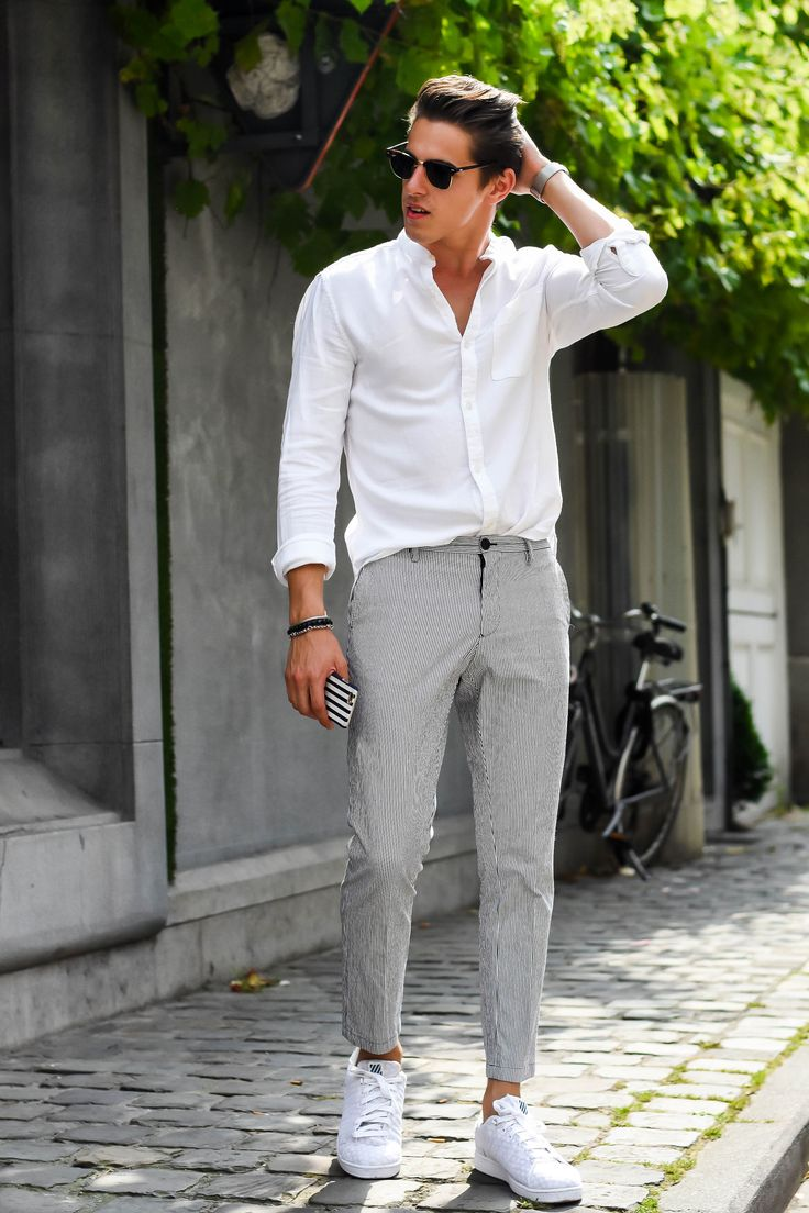 white sneakers men Мужские свадебные костюмы, Летние