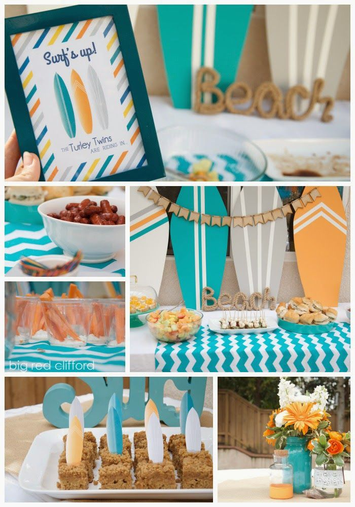a beachy surfer dude baby shower with all the recipes. Teal and tangerine orange and sunny. | bigredclifford.com