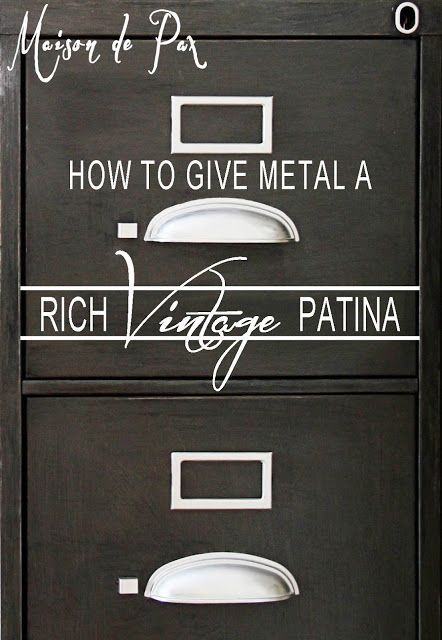 Update an old filing cabinet with this diy tutorial on how to give metal a rich vintage patina | maisondepax.com