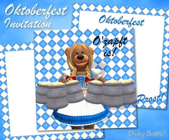 Funny Bavarian Dinky Bear Zenzi Oktoberfest Invitation Digital Download by DinkyPrints at Etsy