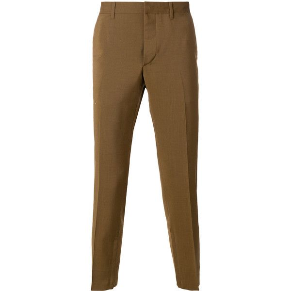 Prada cropped tailored trousers ($835) ❤ liked on Polyvore featuring men's fashion, men's clothing, men's pants, men's dress pants, brown, mens slim fit dress pants, mens brown dress pants, mens slim dress pants, brown mens pants and mens slim fit pants