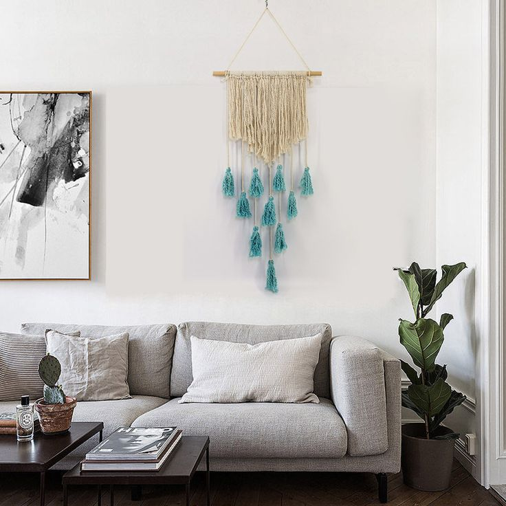 Wall Hanging Handwoven Bohemian Cotton Rope Boho Tapestry ...