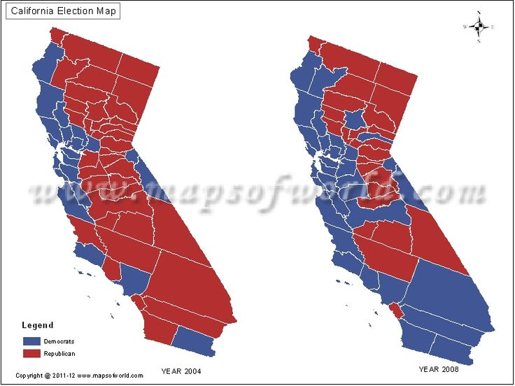 California State Results Of Presidential Elections - Map of county votes for us election
