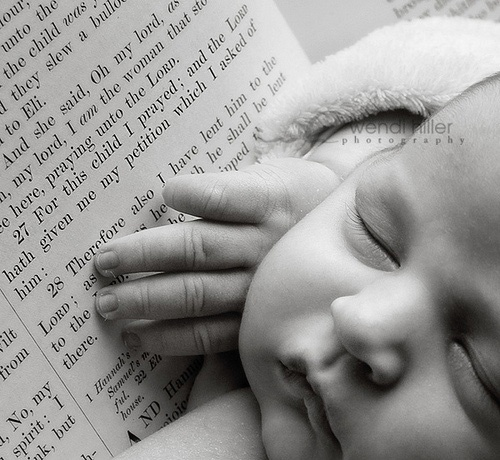 Beautiful baby photo: find their name in a fav book