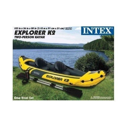 Inflatable Kayak 2 person Intex 68307 - Explorer K2 Kayak w/ Oars & Pump fishing