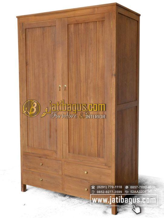 Lemari Pakaian Jati Minimalis 2 Pintu dan 4 Laci