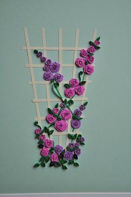 Quilled rose trellis card