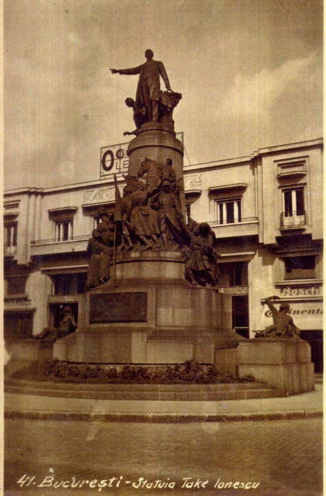 Statuia lui Take Ionescu, sfârșitul anilor 30 Realizată de sculptorul francez Ernst Dubois şi inaugurată la 21 iunie 1931 ( dărâmată la mijlocul anilor '50) În spate magazinul auto Leonida