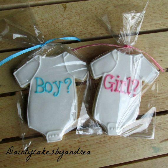 2 dozen Gender Reveal baby onsie cookies by daintycakesbyandrea