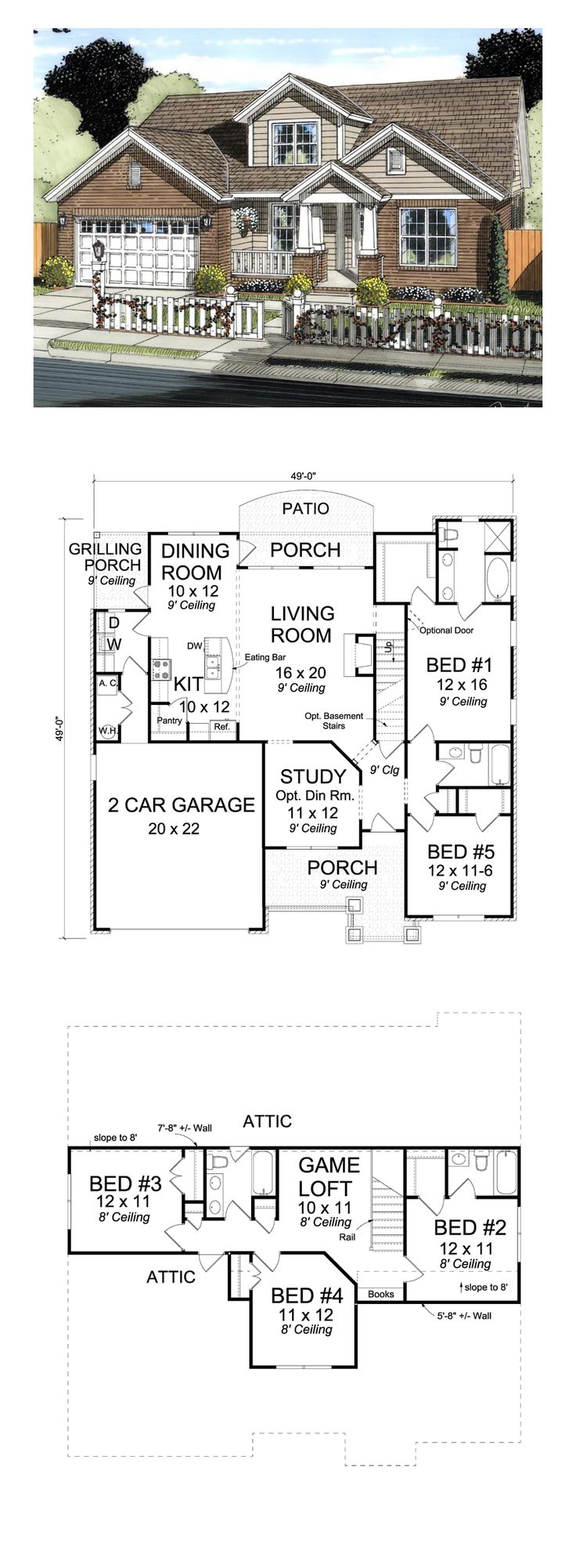 5 bedroom 3 bathroom house plans - Craftsman Traditional House Plan 61421