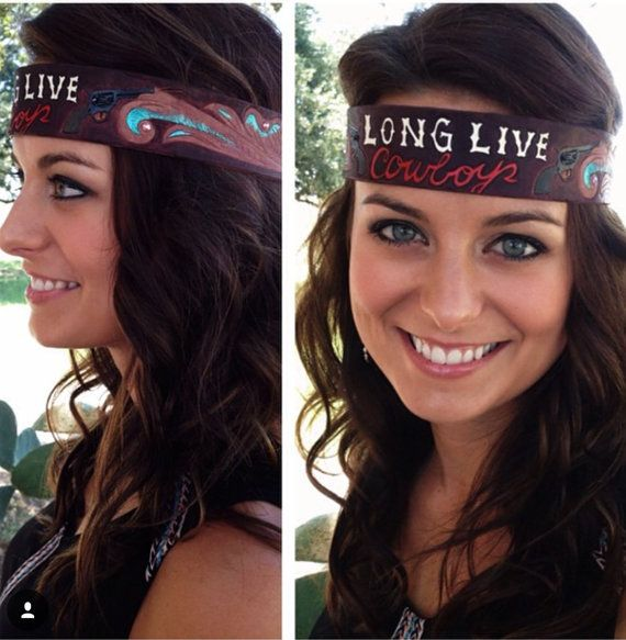 Long Live Cowboys Leather Headband by JumpinJRanchDesigns on Etsy Hand Painted and Hand Tooled Leather Headband