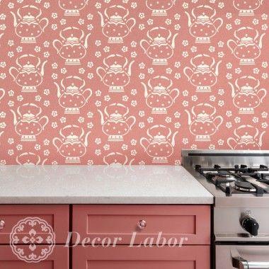 our stencils, vintage paint roller pattern - Tea Time