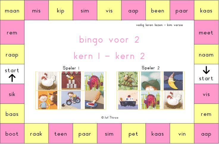 jufthirza.nl Bingo voor 2 veilig leren lezen kim-versie kern 1 en kern 2
