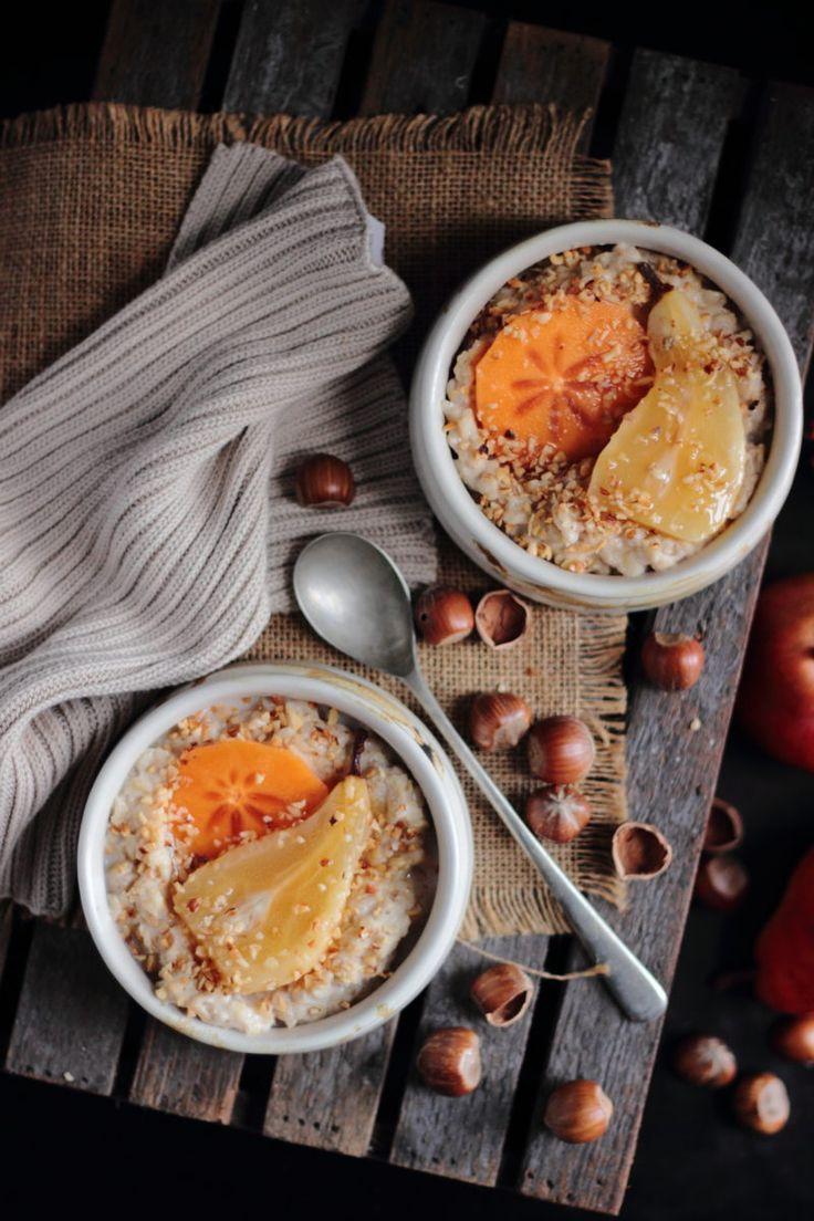 Pear persimmon and hazelnut porridge