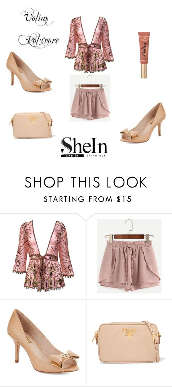 """pink drawstring waist shotrs"" by neri-6448 ❤ liked on Polyvore featuring Roberto Cavalli, Louise et Cie, Prada and Too Faced Cosmetics"