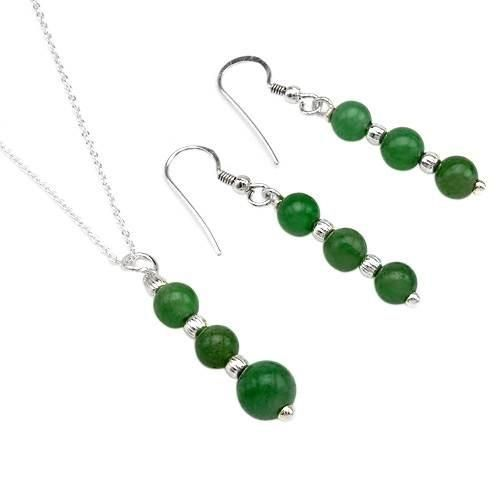 Jewelry Set With  Beautiful Aventurine  Pleasant jewelry set earrings with aventurines well made in 925 sterling silver. Necklace with aventurines made in 925 sterling silver. Total item weight 3.7g. Length 18inch. Gemstone info: 6 aventurines, 13.5ctw., beaded shape and green color, 3 aventurines, 7.75ctw., beaded sha