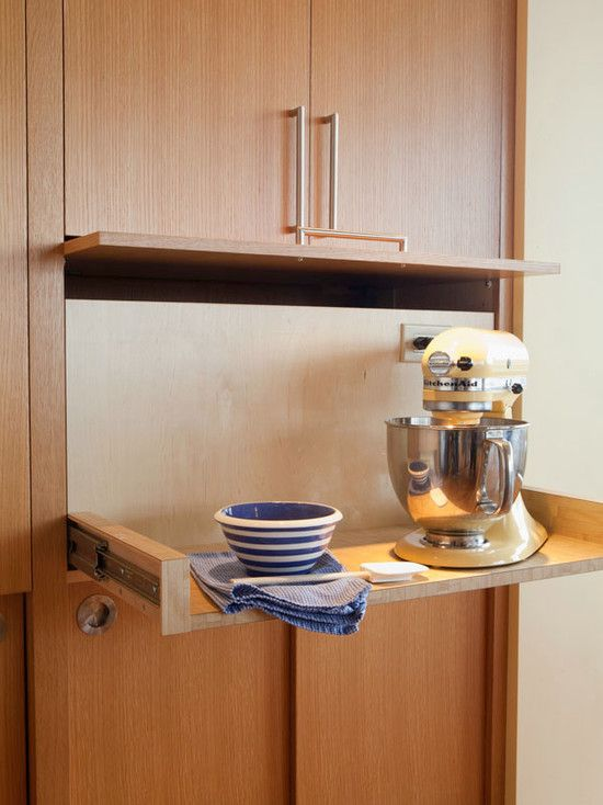 Kitchen Aid Cabinets With Popup Mixer Shelf : Midcentury Kitchen Ordinary Mixer Shelf With A Tambour Style Door Lifts Up While The Entire Sh...