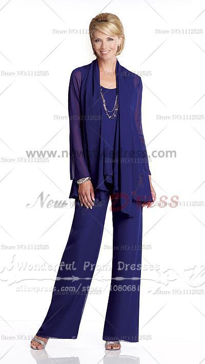 Cheap three piece Chiffon mother of the bride pants suits 2016 nmo-003
