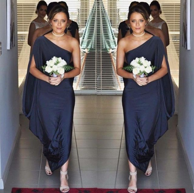 Pia Gladys Perey Gown in Ash. Stunning bridesmaid ready to walk. Available at Nora and Elle.