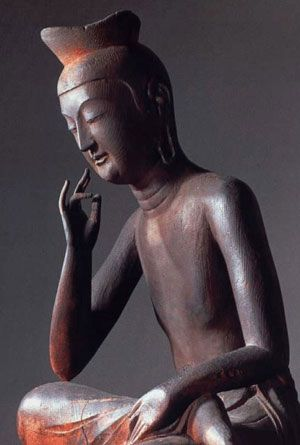 Japanese National Treasure, Miroku Bosatsu statue at Koryu-ji Temple, Kyoto, Japan 弥勒菩薩半跏思惟像