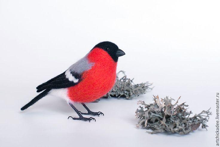 Купить Снегирь - интерьерная игрушка - красный, черный, снегирь, птица, Валяние, войлок, войлочная игрушка
