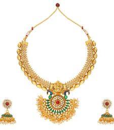 Buy Multicolor polki Pearl necklace sets necklace-set online