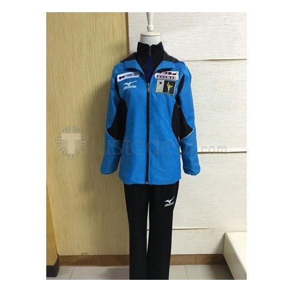 Yuri on Ice Katsuki Yuri Blue Black Sports Uniform Cosplay Costume ❤ liked on Polyvore featuring costumes, cosplay halloween costumes, role play costumes, sports costumes, sports halloween costumes and sport costumes
