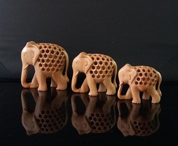 Set of 3 Wooden Elephant Hand Carved Indian Elephant with