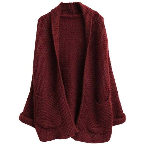 Oversize Loose Knitted Sweater Batwing Sleeve Cardigan ($7.59) ❤ liked on Polyvore featuring tops, cardigans, outerwear, loose fit tops, cut loose tops, red cardigan, red top and batwing sleeve cardigan