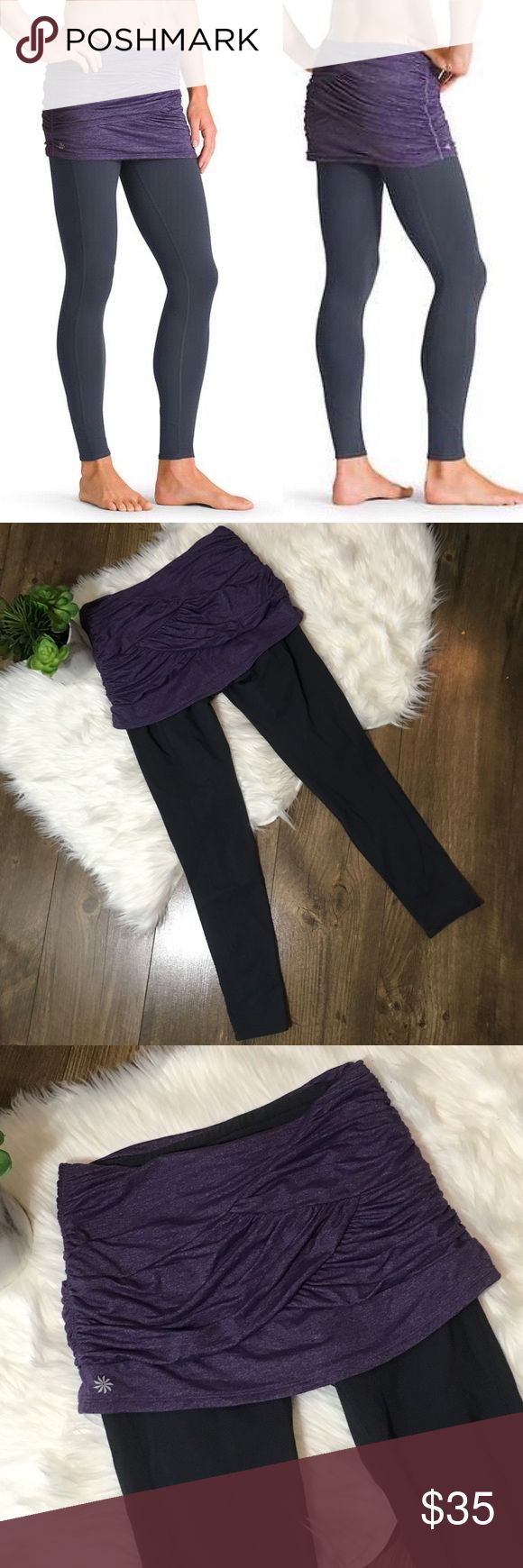 Athleta Skirts Got Legs 2 In 1 Skirt Legging Pants Still in great condition. There is fixed shirring on the sides of the skirt, Its designed to flatter everybody and they also have a seamless design to be non-chafing. style # is 930292 and they retail for $89. Athleta Pants Leggings