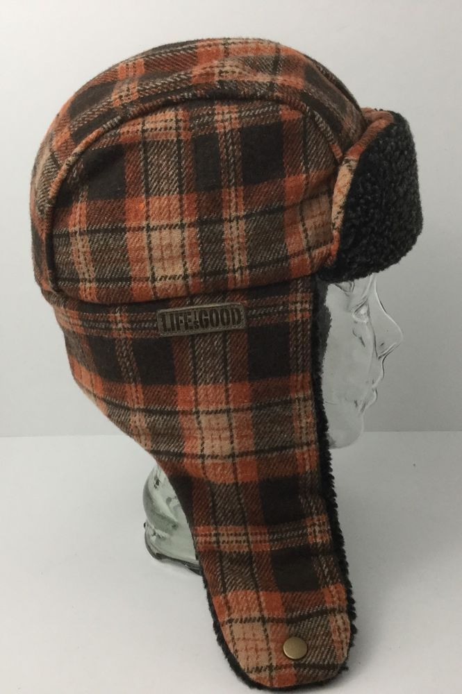 Life Is Good Winter Bomber Trapper Hat With Ear Flaps Plaid Small EXCELLENT #LifeIsGood #AviatorTrapper