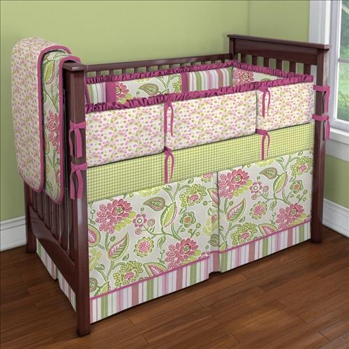 Pink And Green Garden Party Custom Crib Bedding Entry | Carousel Designs  Contest