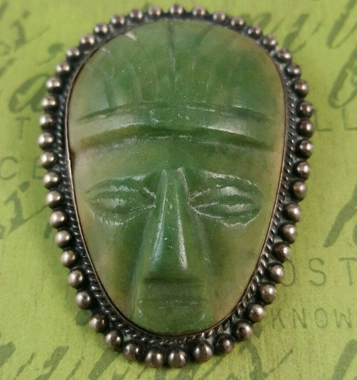 Excited to share the latest addition to my #etsy shop: Vintage Mexico Sterling Silver Green Onyx Tribal Aztec Mask Brooch Double C Clasp http://etsy.me/2F9OE5T #jewelry #brooch #green #silver #vintage #rare #onyx #sterling #pin