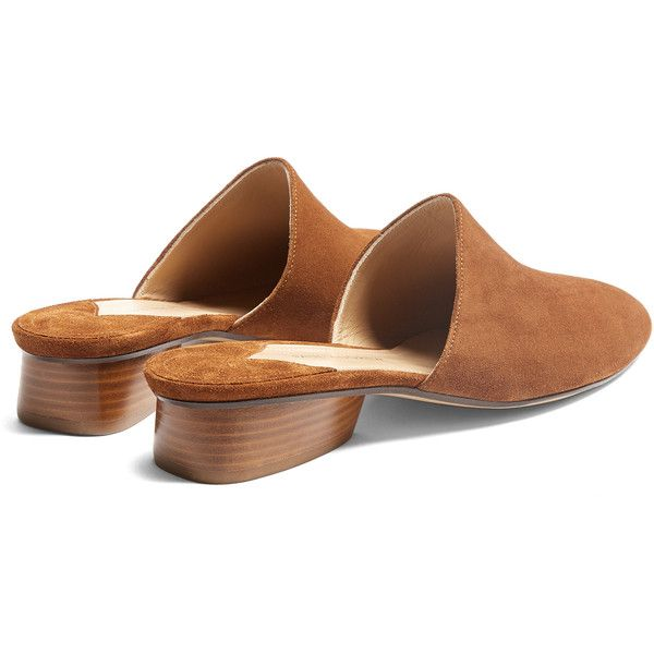 Paul Andrew Pisa suede backless loafers (635 CAD) ❤ liked on Polyvore featuring shoes, loafers, tan suede shoes, paul andrew shoes, paul andrew, tan brown shoes and brown suede loafers