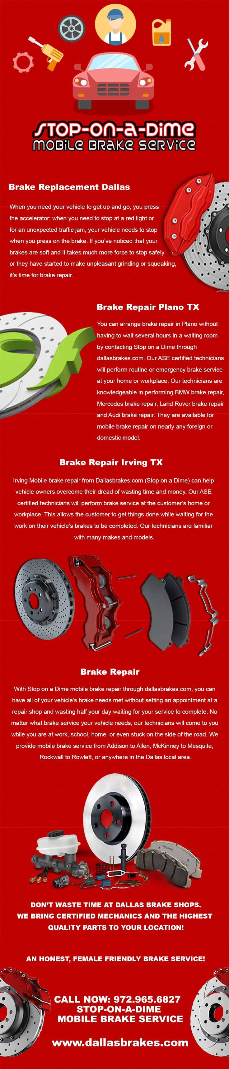 Brake Repair Irving TX -  If the brake of your car is not in proper working condition, instead of taking risk, contact Stop On A Dime Mobile Brake Service for prompt brake repair in a professional way in Irving, TX. We have certified mechanics and use the highest quality parts to complete our work efficiently.