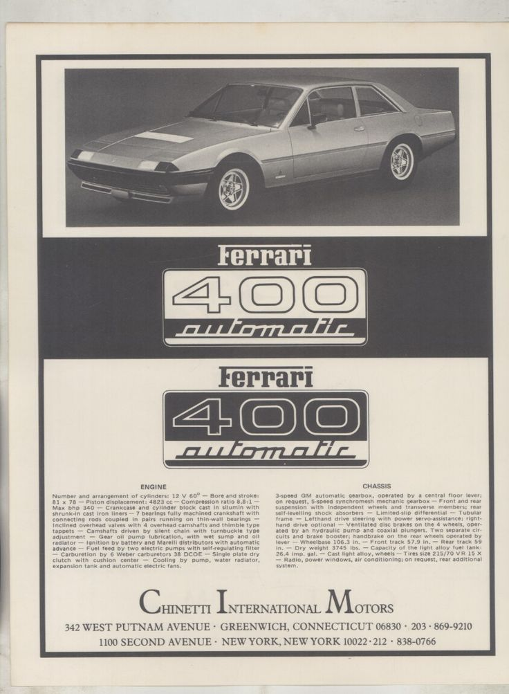 Ferrari 400, '76 advert for Luigi Chinetti's Ferrari dealership in Greenwich, Connecticut, the first in American. Interestingly the 365 gt4 + 2/400/412 was never officially imported in to the US...