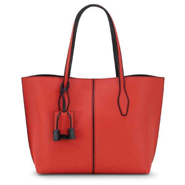 Tod's Tod's Joy Bag Medium ($1,265) ❤ liked on Polyvore featuring bags, red bag, tassel bags, tods bag, leather tassel bag and snap bag