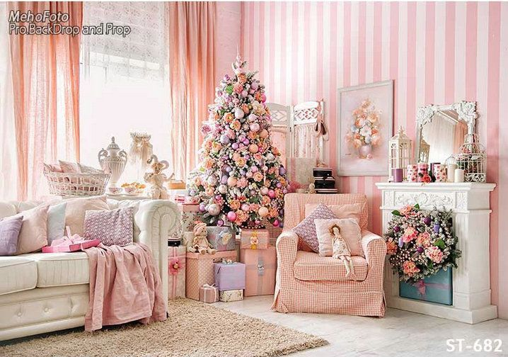 wholesale 3D Xmas Pink Girl Living Room Boudoir photography cloth backdrops vinyl and Flannelette cloth Computer print children kids photography backdrops for sale