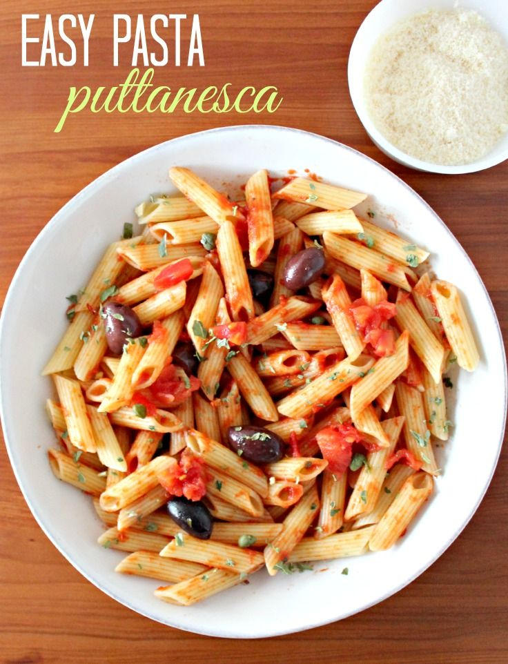 Easy pasta puttanesca recipe. This is one of my favorite easy pasta recipes that uses a pasta sauce that's just a little bit different. Great busy night recipe idea. #MyMixx #ad