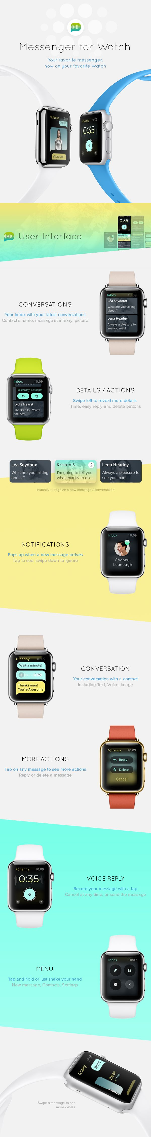 Messenger for Apple Watch by Ehsan Rahimi on #Behance #ui #interaction #animation #watch #applewatch #web #website #landingpage #ios #app