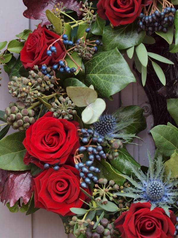 Wreath For The Holidays Roses Viburnum Thistle Ivy
