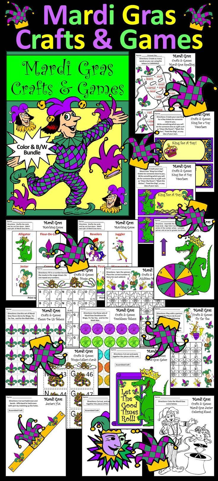 """Mardi Gras Crafts & Games Activity Packet: Contents include: * Spelling Activities * Matching Card Game * Alligator Math Spinner * Addition Math Mat * Tic Tac Toe Board * """"Create Your Own"""" Bingo Board * Fleurs-De-Lis Counters * Doubloons Counters  * Bingo"""