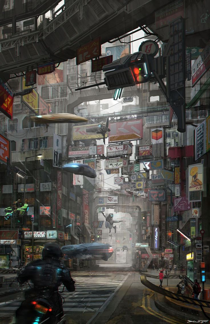 Cross road Cyberpunk city, Cyberpunk art, Sci fi concept art