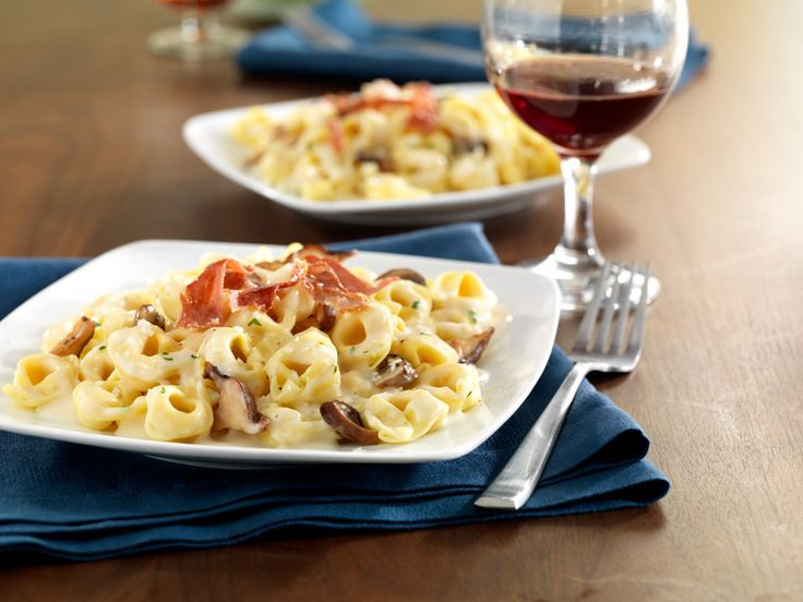 It's OK to indulge! Feed the family this tonight: Barilla Three Cheese Tortellini with Prosciutto and Wild Mushrooms.