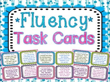 32 Fluency Task Cards with varied sentence types to help your students practice their oral reading fluency! Perfect small group, whole group, or independent center fluency activity.