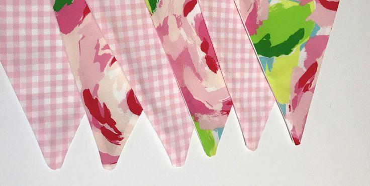 Custom Flag Banner, Bunting made with Lilly Pulitzer Hotty Pink First Impression fabric and pink gingham fabric by MyPinkAndGreenGarden on Etsy https://www.etsy.com/listing/519873237/custom-flag-banner-bunting-made-with