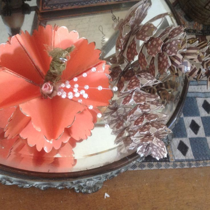 Paper Pumpkin and Pinecone Autumn Decorations by GracelinePaperStudio on Etsy